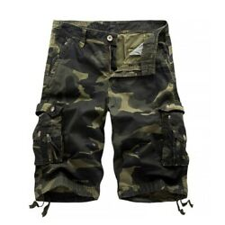 Mens Casual Shorts Camouflage Cargo Loose Work Man Military Pants Plus Size