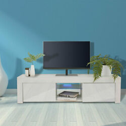 High Gloss 65 Tv Stand Unit Cabinet Console Table Rc With Colorful Led Light Us