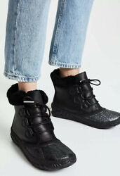 New Sorel Out N About Plus Lux Waterproof Boot Shearling Trim Black Glitter