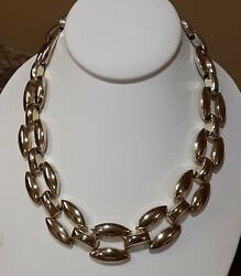 18quot; Vintage Panther Link Chain Light Goldtone Necklace circa 80#x27;s Bold