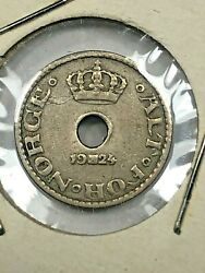 1924 Norway 10 Ore Foreign Coin 257