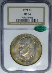 1974 Ike 1 Ngc / Cac Ms64 Eisenhower Dollar Monster Rainbow And High-end