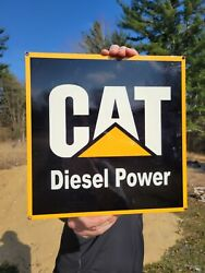 Old Vintage Cat Diesel Porcelain Heavy Metal Sign Gas Station Tractor Equiptment