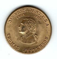 Thomas Jefferson 3rd President Token Coin Long Tom, 25mm, Brass Colored