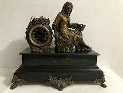 Rare Antique French Mantle Clock Shelf Table Bronze And Marble 51 Cm Huge And Heavy