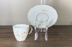 Vintage Weimar German Fine China Tea Cup And Saucer Gilded With Tan Flowers