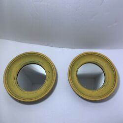 Decorative Mirror Round Wall Hanging Pair 2 Painted Yellow Turquoise Decor