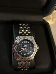 Breitling Galactic Watch Model A71356 Ss 32mm Case With Blue Diamond Dial.