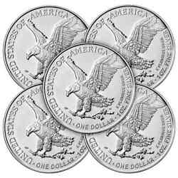 New Gifts Lot 5 -1oz-2021 999 Fn Am Silver Eagle T-2 1cnsbu+at Hldr++