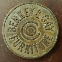 1905-28 Berkey And Gay Furniture Co. Brass And Aluminum Drawer Emblem 1 And 1/2 Dia.