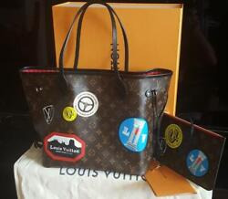 New Authentic Louis Vuitton Limited Edition Neverfull World Tour Bag With Pouch