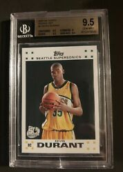 2007-08 Topps 2 Kevin Durant Seattle Supersonics Rc Rookie Bgs 9.5 Gem Mint