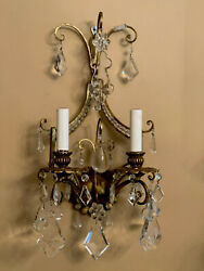 Pair Antique Vintage French Italian Crystal Beaded Gilt Metal Wall Sconces