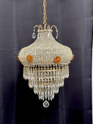 Antique French Art Deco Crystal Beaded Czech Shade Wedding Cake Chandelier