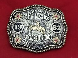 Rodeo Champion Trophy Buckle☆1982☆santa Fe New Mexico Bronc Riding Vintage 839