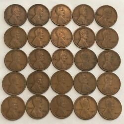 Half-roll Of 25 Vg 1912 Lincoln Wheat Cents. K2