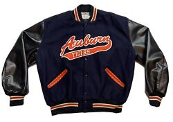 Vintage Auburn Tigers Spell Out Delong Wool Letterman Jacket Sz Xl Embroidered