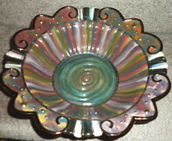 Discontinued Mackenzie Childs Trapeze Serving Bowl