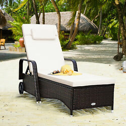 Rattan Wicker Chair Patio Chaise Lounge W/ Cushion Disassembly Bed W/wheel Brown