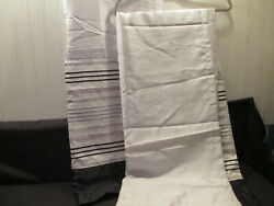 2 Panels Jaclyn Smith Today Curtains White Black Gold 65 Long X 54 Wide Each