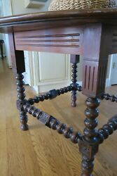 Antique Turned Leg Round Walnut Table Late 19th Century
