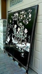 Antique Chinese 4-panel Lacquered Relief Carved Painted Screen W/cranesbirds