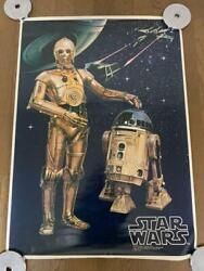 Star Wars 1977 Vintage C3p0 And R2d2 Japan Large Poster Rare Used