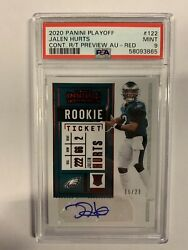2020 Panini Playoff Jalen Hurts Contenders Rookie Ticket Auto Red Rc /23 Psa 9