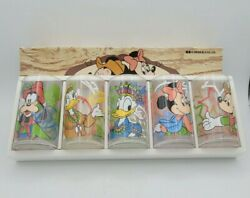 Vintage Disney Character Juice Glasses Western Theme Mickey Mouse Donald Duck