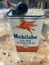 Mobilube Gargoyle Socony Vacuum Outboard Gear Oil Can, Gas And Oil