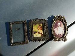 3 Vintage Small Metal Picture Frames Wall Decor Antique Czechoslovakia Italy