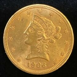 1906-d 10 Liberty Gold Coin.. Uncertified..