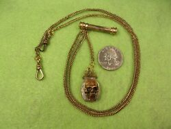 Awesome Vtg Antique Gf Pocket Watch Fob +2 Chains Copper Skull Victorian T-bar