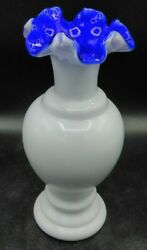 Rare One Of The Kind Fenton Vase With Deep Blue Inlay Unique