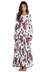 Free People First Kiss Cotton Maxi Dress Ivory Long Sleeve Cream Combo M