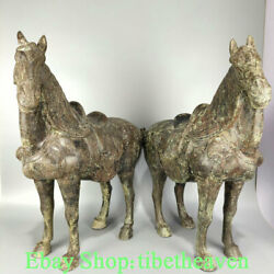 """24"""" Old Chinese Bronze Ware Dynasty Palace Tang Horse Success Sculpture Pair"""