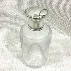 Antique Christofle Perfume Bottle French Art Deco Silver Plate Glass Crystal
