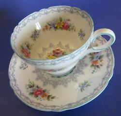 Vintage Shelley Crochet Teacup And Saucer With Beautiful Blue Trim