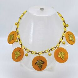 Vintage Art Deco Celluloid And Galalith Rounds Necklace
