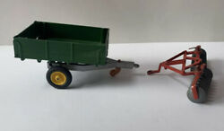 Vintage Britains Ltd Green Trailer And Unmarked Red Piece Of Farm Equipment Toys