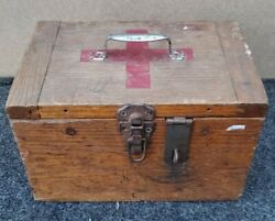 Antique Wood Handmade Red Cross Medical First Aid Supply Box/case - Great Look