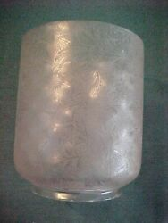 Victorian Deep Acid Etched Optic Gas Harp Ceiling Lamp Shade 8-1/4 Tall 5andrdquo Fit