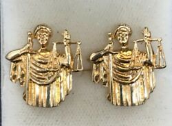 Vintage 14k Lady Justice Cufflinks - Great Present For Lawyer