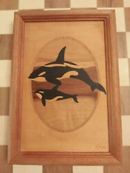 Jeff Nelson Signed Hudson River Inlay Wood Marquetry Picture Killer Whale 10x7