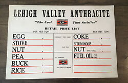 Vintage Nos Lehigh Valley Anthracite Coal Price Sign 1950s Cardboard Free Ship