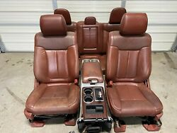 2009-2014 Ford F150 King Ranch Brown Leather Front/rear Seats W/console Power