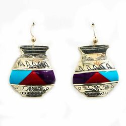 Sterling Turquoise And Coral Charlotte Gem Inlay Earrings
