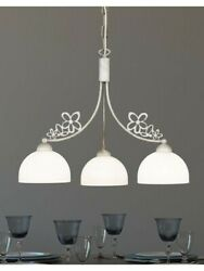 Chandelier Wrought Iron Classic Shabby Chic White Antique 3 Lights Dese-201