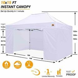 Ez Pop Up Canopy Tent With Sidewalls Commercial Series White 10x15 White Gazebo