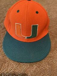 Miami Hurricanes Adidas Game Used Baseball Fitted Hat 7 1/8 13
